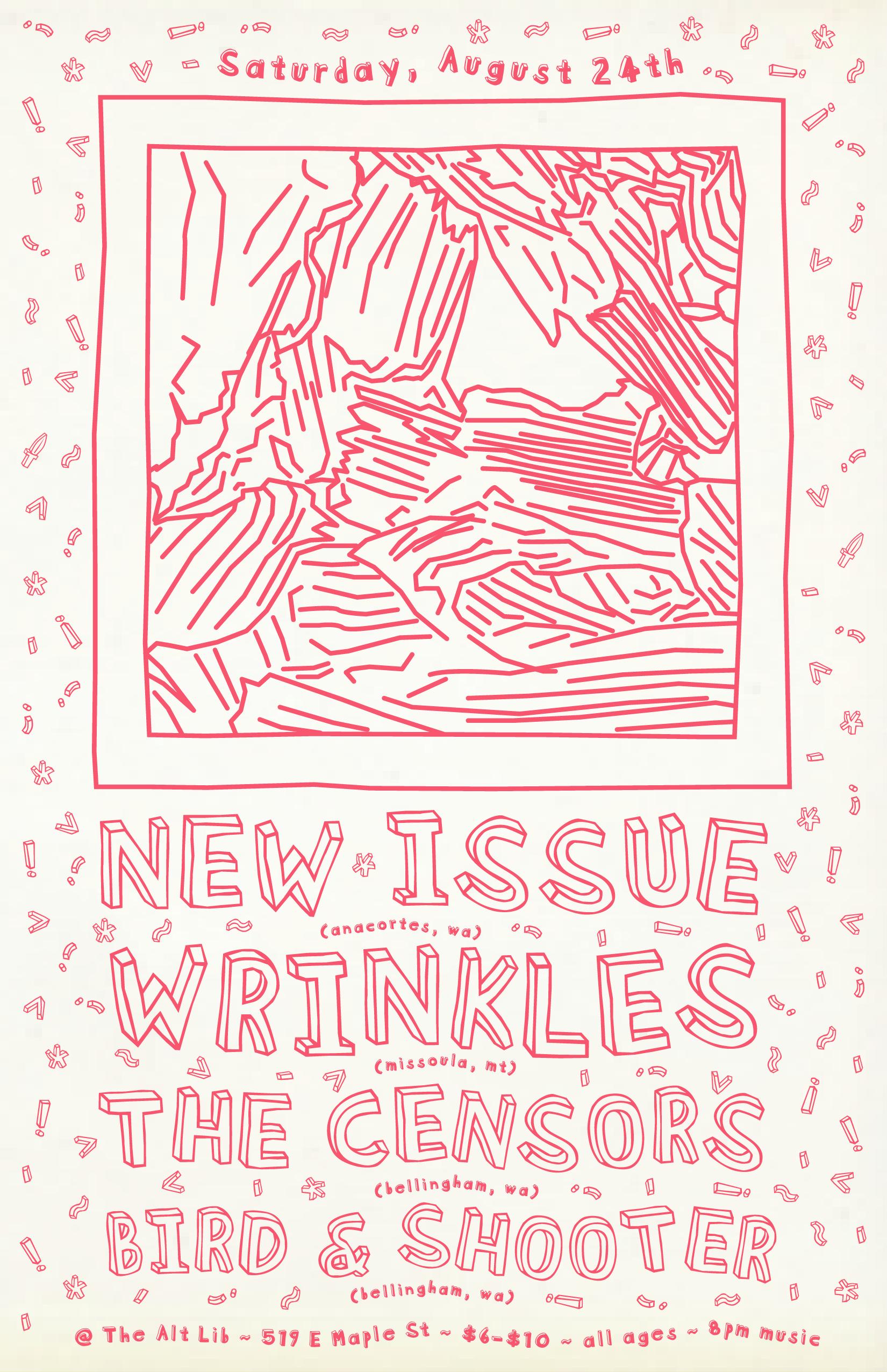 New Issue, Wrinkles, The Censors, Bird & Shooter - September 24 Show Flyer